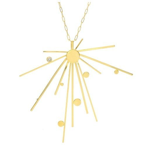 Lauren Chisholm gold starburst 3 pendant necklace in solid 14k gold with a diamond.