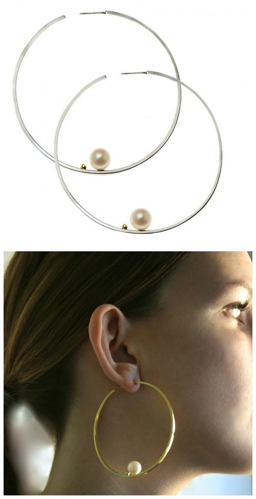 Lauren Chisholm's large hoop earrings with pearls in white or yellow gold.
