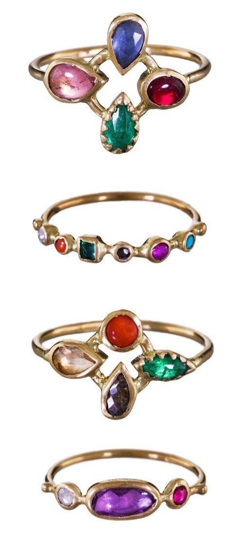 Lovely gemstone and gold rings by French designer Dorette.