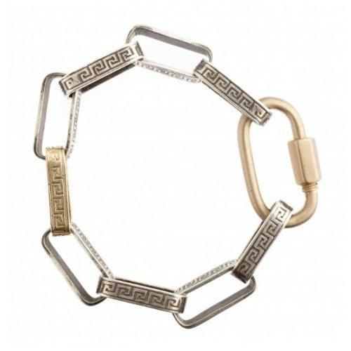 Marla Aaron Greek Key bracelet in 18k gold and sterling silver with 18K regular lock.