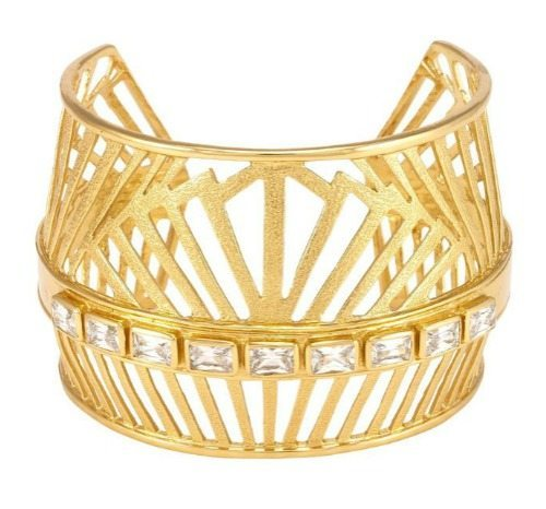 Melinda Maria gold-plated Natasha cuff bracelet with white cz crystals.