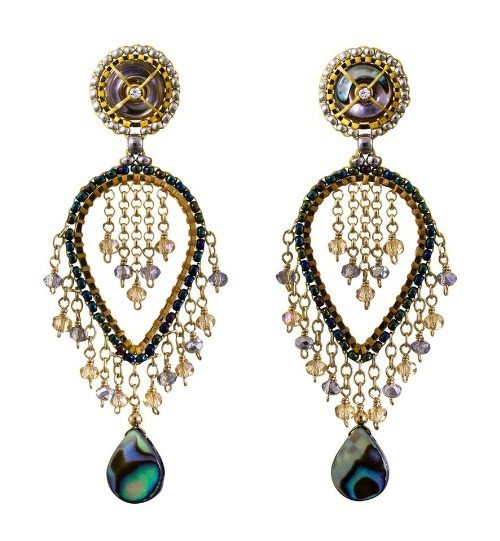 Miguel Ases abalone shell and topaz quartz earrings