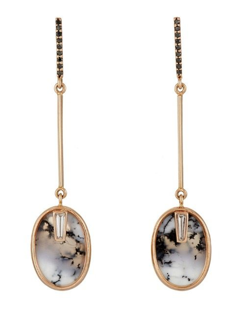 Monique Péan mixed gemstone drop earrings with black and white diamonds and oval dendritic opals.