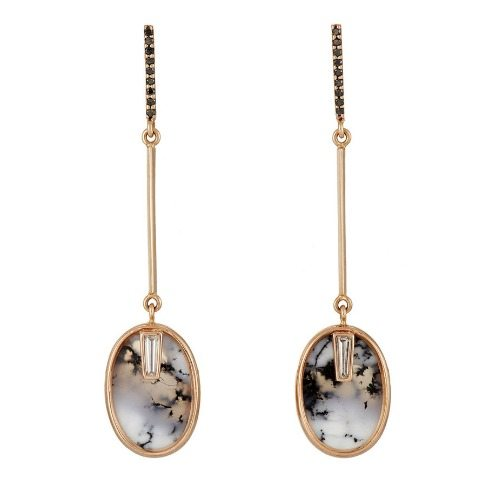 Monique Péan's mixed gemstone drop earrings with black and white diamonds and oval dendritic opals.