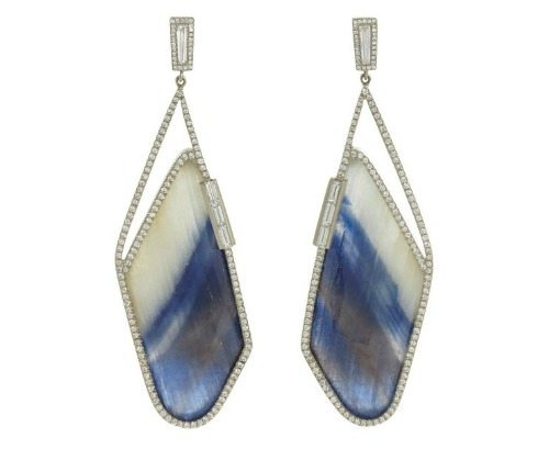 Monique Péan's sapphire slice and diamond earrings.