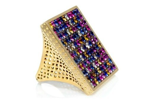 Multicolored sapphire square ring in gold, by Ray Griffiths. At Stone and Strand.