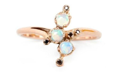 N+A Black Magic opal ring with opals and black diamonds in gold.