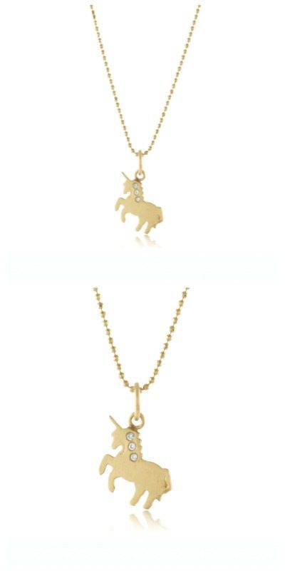 Page Sargisson mini unicorn charm in 10k gold with diamonds. Two views