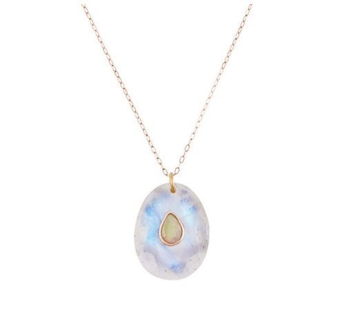 Pascale Monvoisin moonstone and opal Orso necklace in rose gold.