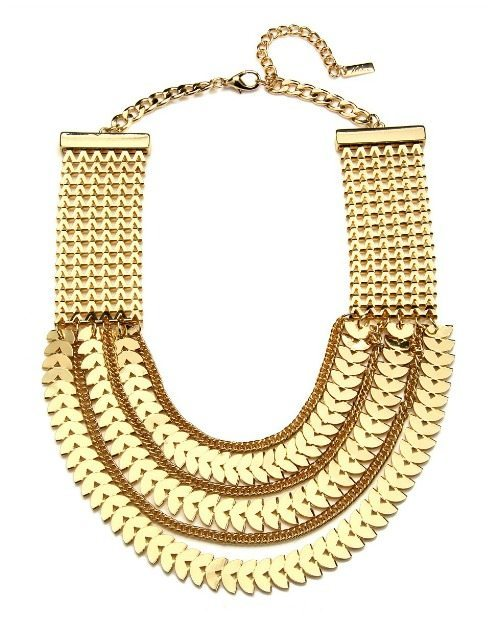 Piper Strand gold chevron bib statement necklace.
