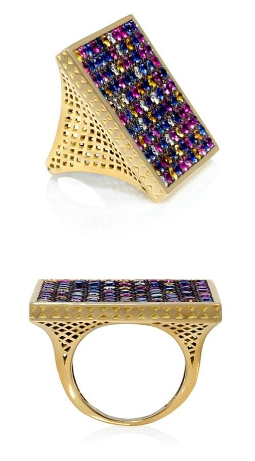 Ray Griffiths' multicolored sapphire square ring. At Stone and Strand.