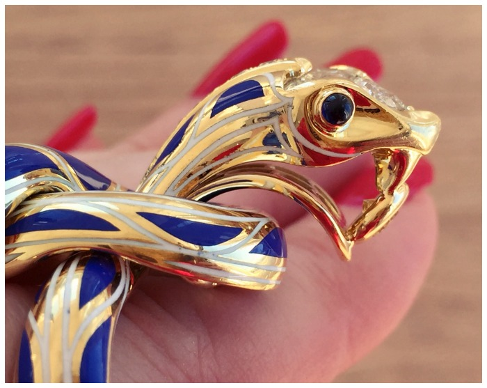 Ridiculously amazing snake ring by Juan Da Silva; blue enamel, sapphires, and diamonds in 18k yellow gold
