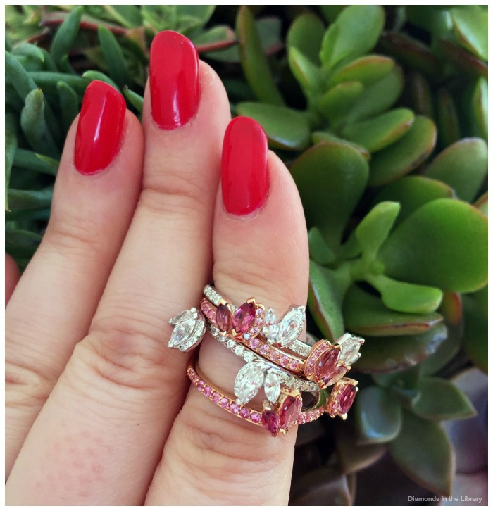 Ring set by Laurence Bruyninckx. Pink tourmaline, pink sapphire, and diamonds in 14k white and rose gold.
