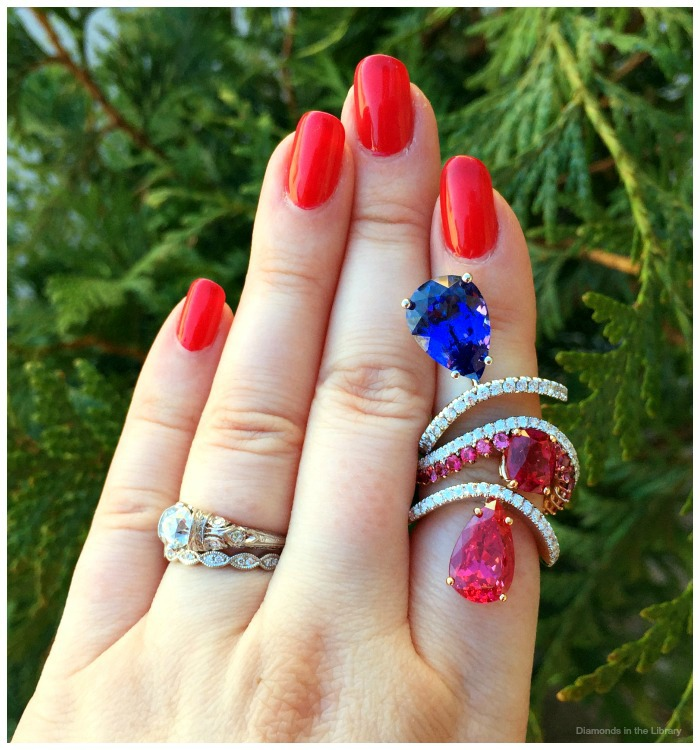Ring trio by Gulgun Buldanlioglu of Maya Fine Jewelry. A 5.84ct tanzanite, a 2.47 pink spinel and 4.56 ct red spinel with diamonds and pink spinels.