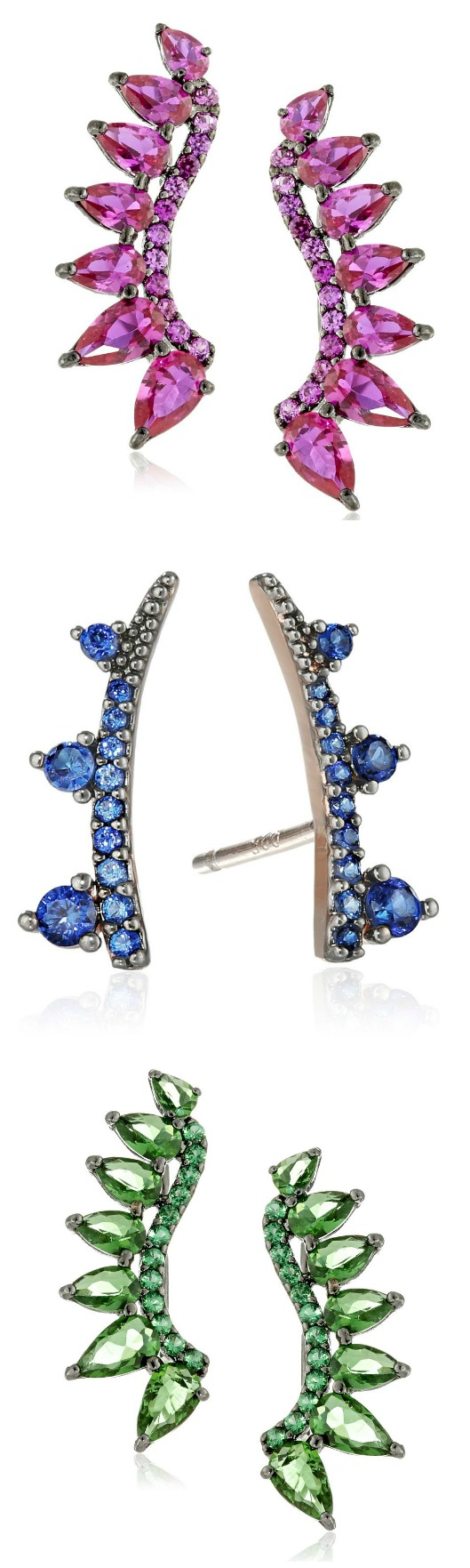 Tai crystal ear climbers in sapphire blue, emerald green, or bubblegum pink