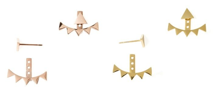 Tara May ear jackets from Benique, in rose or yellow gold color.