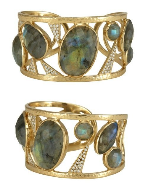 The Cora cuff by Melinda Maria Designs; 14k gold plated with labrodorite and CZ crystals.