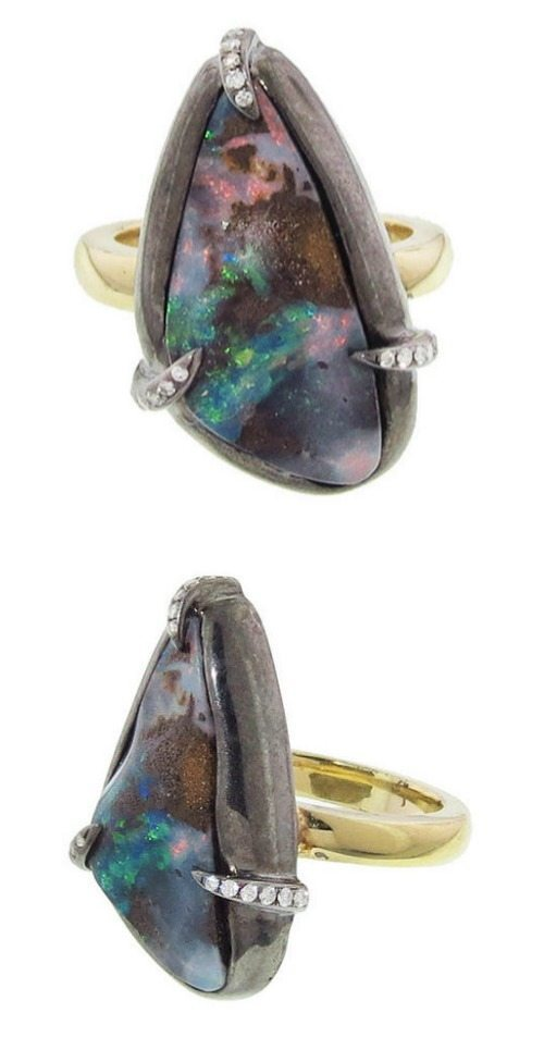 The Deanna Hamro organic boulder opal and diamond ring in gold.