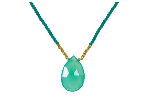 The Debbie Fisher crysoprase pendant necklace with gold vermeil beads.