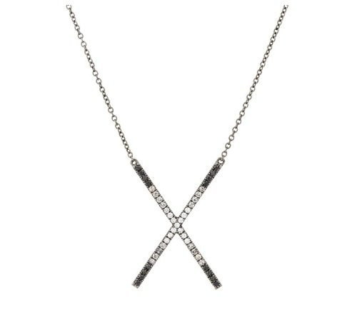 The Eva Fehren Ombre X pendant necklace with white, black, and gray diamonds in blackened white gold.