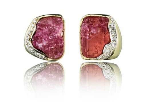 The Kara Ross Petra Raw stud earrings in rubellite