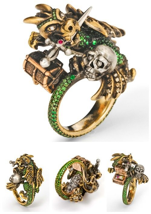 The Wendy Brandes Dragon and Knight Maneater ring with detail shots