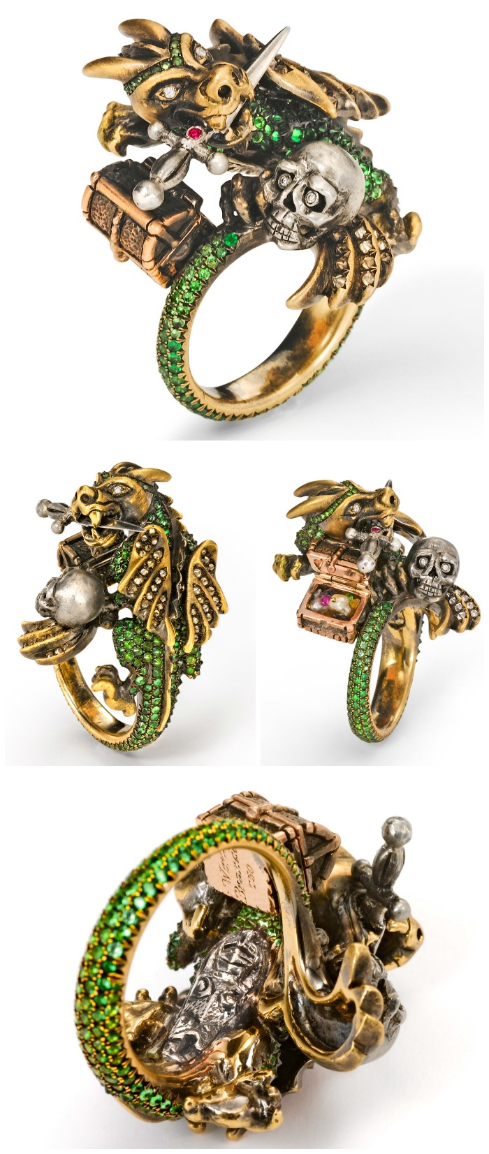 The Wendy Brandes Dragon and Knight Maneater ring with real opening treasure chest and vanquished knight digesting in the dragon's stomach.