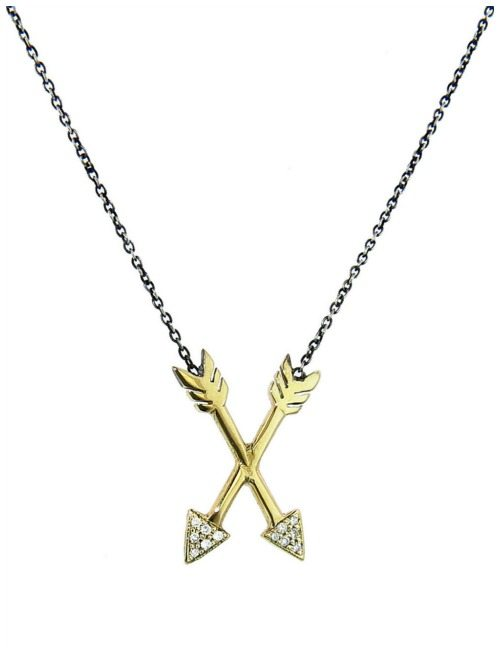 The Workhorse Atlanta crossed arrows pendant in 14k gold with diamonds.