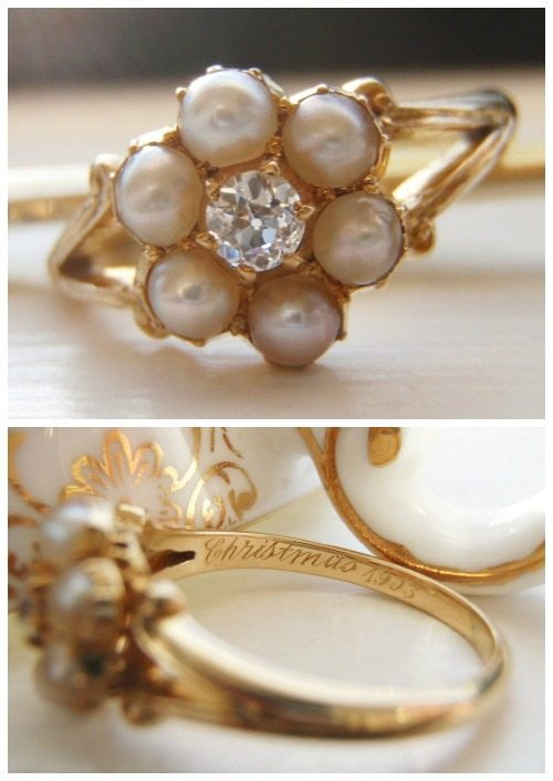 "This antique pearl and diamond flower cluster ring in gold is engraved ""Christmas 1903"". You couldn't find a more perfect holiday gift for an antique jewelry lover than this."