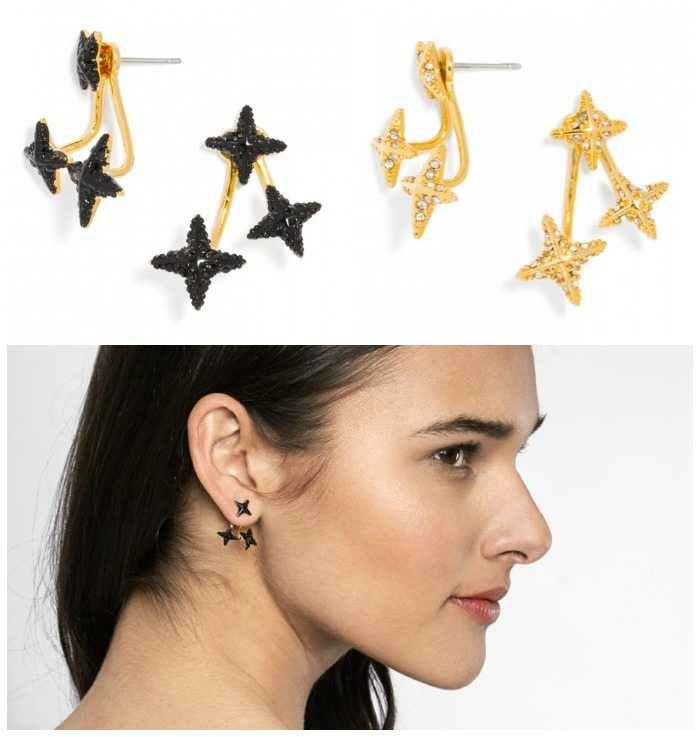 Triangulum Jacket earrings from BaubleBar, in both black and gold.