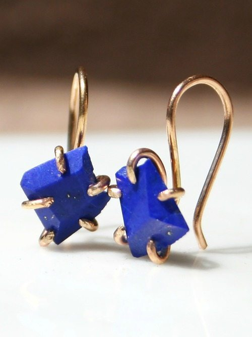 Varience Objects' earrings in lapis and gold