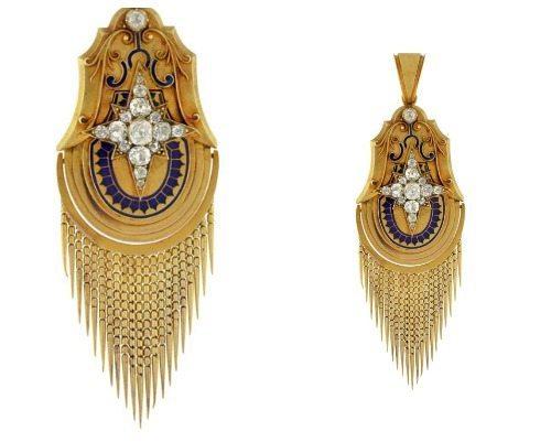 Victorian 15k gold starburst blue enamel pendant with foxtail fringe.