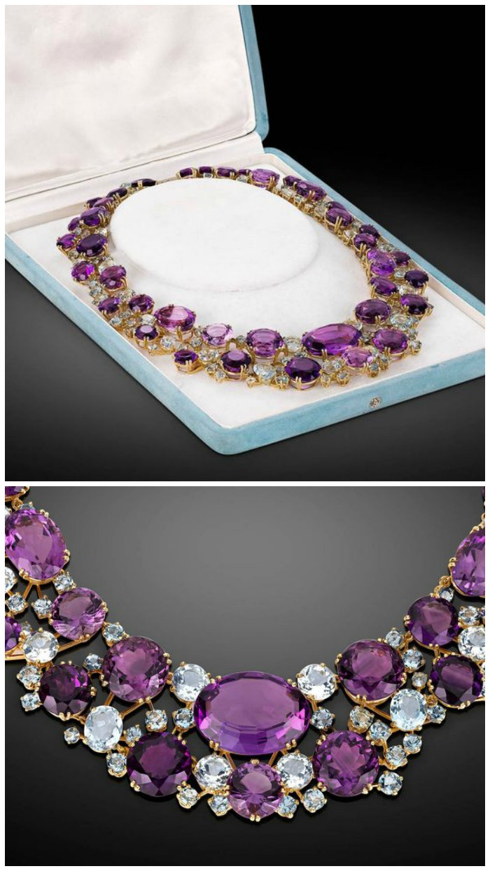 Vintage Verdura amethyst and aquamarine necklace in gold.