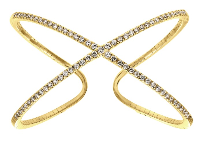 A chic, geometric yellow gold and diamond cuff bracelet from Gabriel and Co.