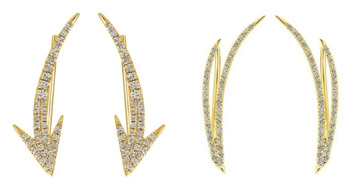 Two fantastic pairs of yellow gold and diamond ear climbres from Gabriel and Co.