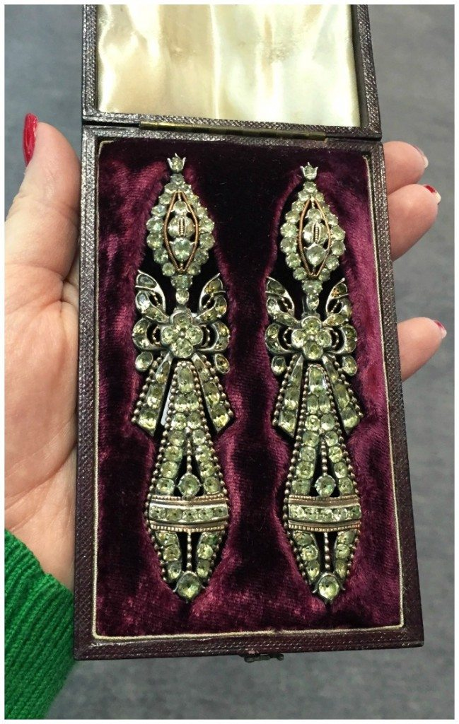 A magnificent pair of Georgian Portugese chrysoberyl earrings. At Lowther Antiques.