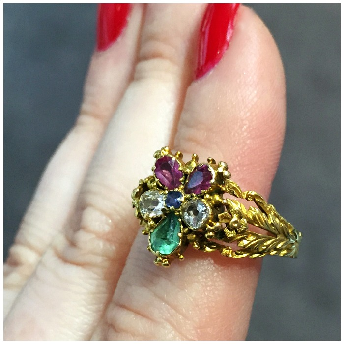 A spectacular Georgian pansy ring from Lowther Antiques. Incredible details.