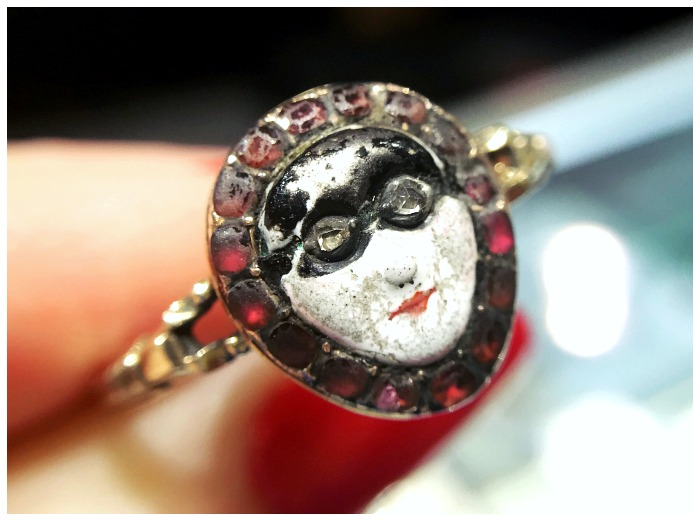 A truly exceptional example of a Georgian carnival mask ring. Seen at Spicer Warin.
