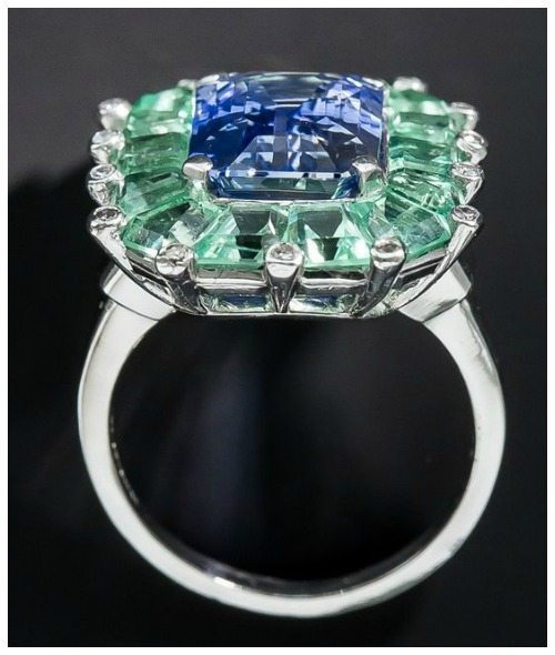 A truly magnificent sapphire and green beryl cocktail ring at Lang Antiques. Art Deco, circa 1930's-40's.