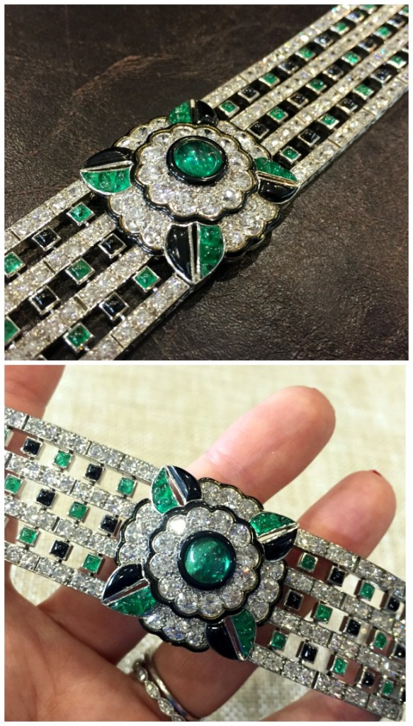 An antique Art Deco emerald, onyx, and diamond bracelet. By Mauboussin. At Jogani.