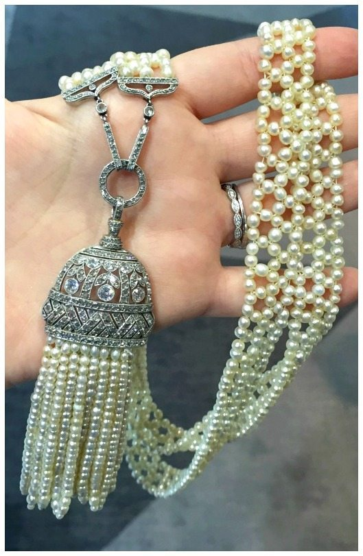 An incredible antique Art Deco era pearl and diamond sautoir. At Spicer Warin.