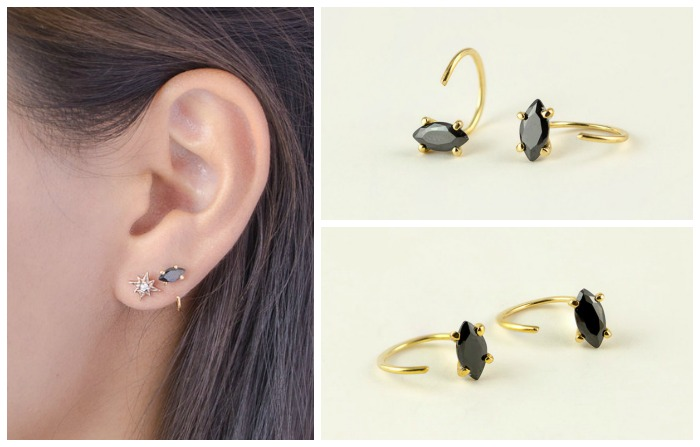 Black zircon hug hoop earrings. Available in rose, white, or yellow gold-plated.