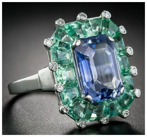 Front side view of a magnificent sapphire and green beryl cocktail ring at Lang Antiques. Art Deco, circa 1930's-40's.