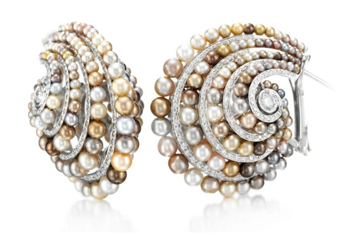Natural colored pearl and diamond earrings by Bhagat. At FD Gallery.