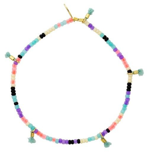 Shashi Blue Lilu bracelet with pink, teal, purple and ivory seed beads and tiny light blue thread tassels.