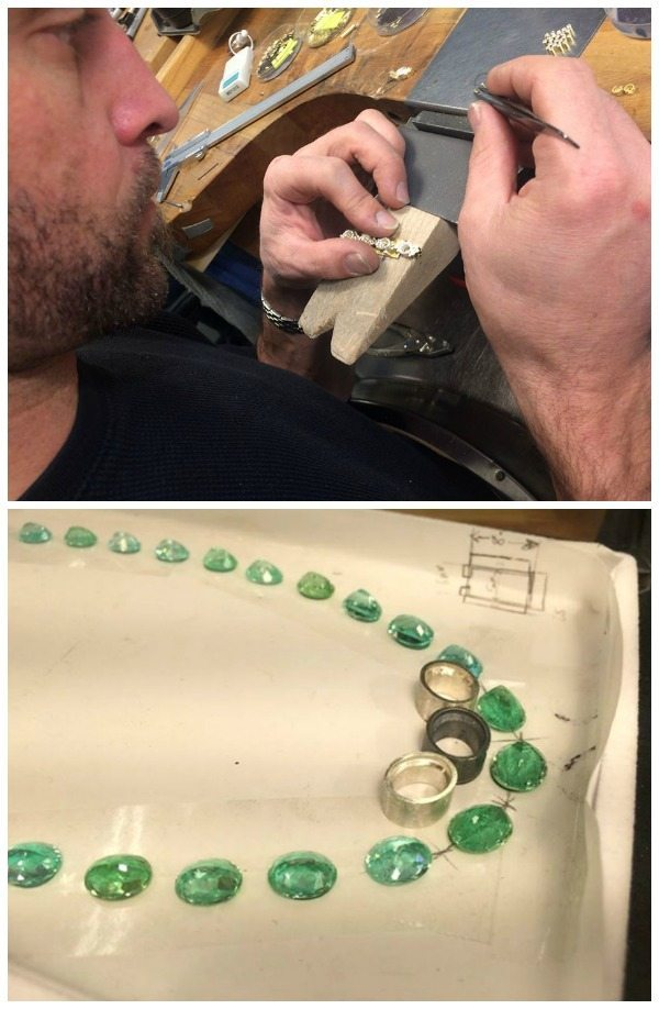 Shots from the studio; behind the making of a one-of-a-kind Todd Reed tourmaline and diamond necklace.