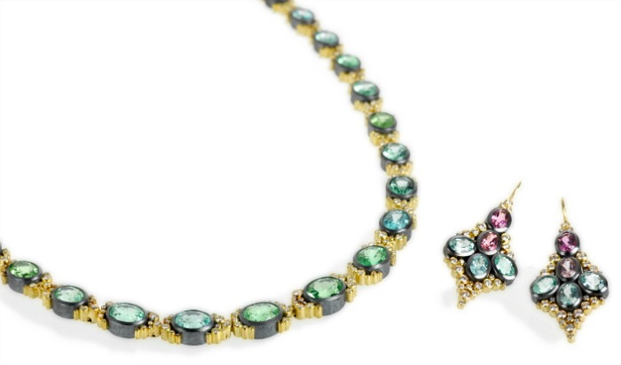 Todd Reed tourmaline and diamond earrings and matching necklace in gold.