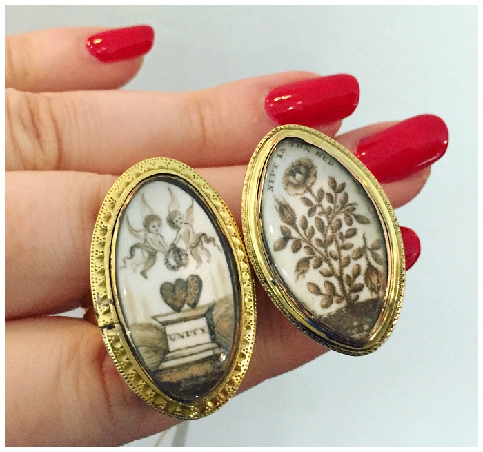 Two rare Georgian sepia mourning rings in incredible condition. From Glorious Antique Jewelry.