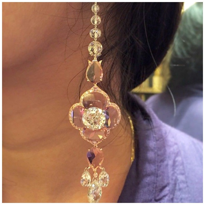 Viren Bhagat earrings with old european and briolette-cut diamonds (23.98 carats total) and pink spinel (14.39 carats).