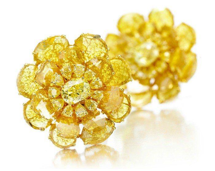Viren Bhagat yellow diamond flower earrings.